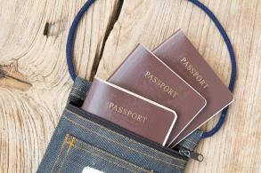 Passport in fabric bag